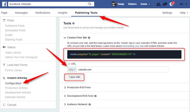 چالاک کردنی بەستەر لە Facebook Instant Articles