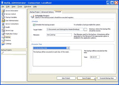MySQL Administrator, Project Schedule
